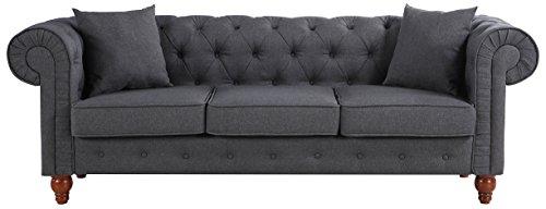 Divano Roma Furniture Classic Large Sofa | Dark Grey