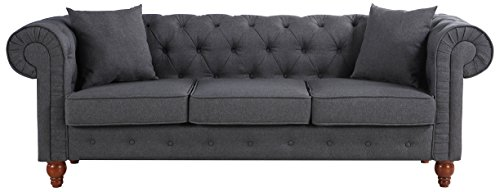 Divano Roma Furniture Classic Large Sofa | Dark Grey