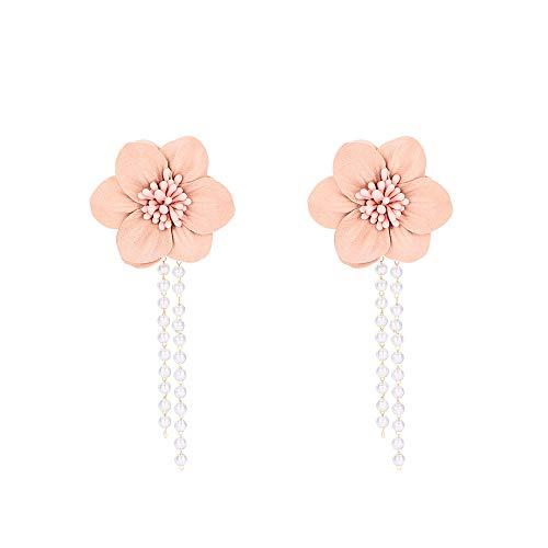 Ajcoflt Sweet Pink Girly Heart Flower Earrings Tassel Earrings Temperament Long Flower Ladies Penda