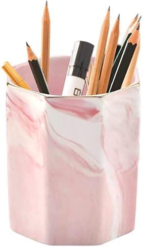 popular Pencil Holder, Pen sale Holder, Marble Makeup Brush Holders,Ceramic Pen Holder for Desk Cute,Pencil Cup Pen Stand Multifunction online Ceramic Desk Pencil Organizer Ideal Gift for Office, Classroom, Home, Pink sale