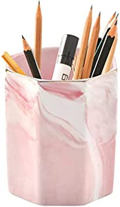 Pencil Holder, Pen Holder, Marble Makeup Brush Holders,Ceramic Pen Holder for Desk Cute,Pencil Cup Pen Stand Multifunction Ceramic Desk Pencil Organizer Ideal Gift for Office, Classroom, Home, Pink