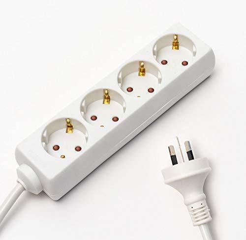 Adaptador de viaje Hobart Power Plug Strip Multi Safe Extensión Cable 4 entradas Ultra Compact Cable para vacaciones internacionales 3 Pin Tierra Tipo I 4 enchufes tipo F 1,5 m, color blanco