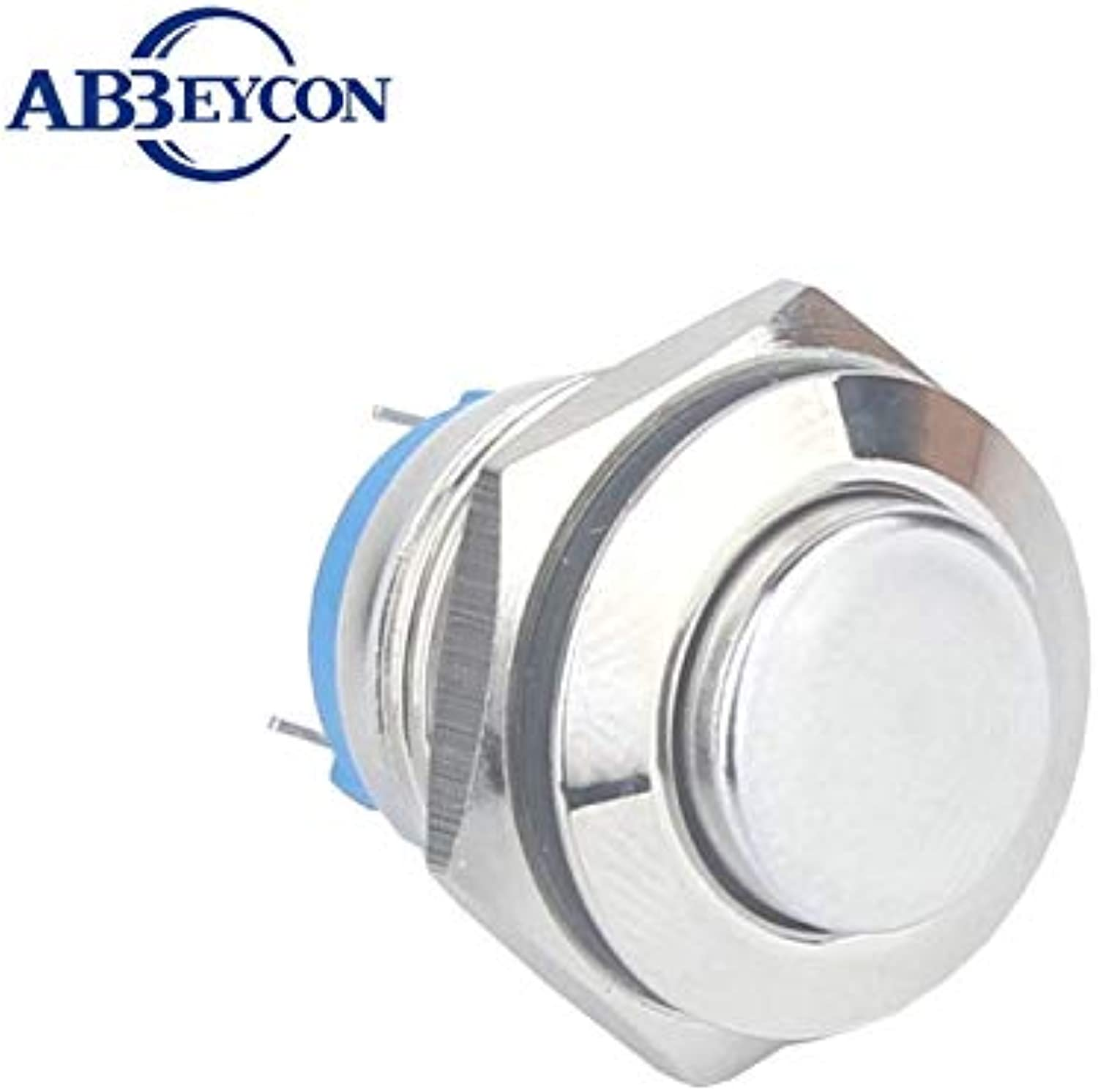 5pcs Lot IB 1607 Lowest Price 16mm High Round Head 220v momentary Function Brass nickled IP67 Waterproof Switch  (color  Silver)