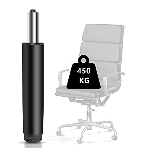Silla de oficina con resorte de gas y repuesto de gas Lift 450 kg – Amortiguador de gas plateado para sillas giratorias, sillas de oficina y sillas, muelle neumático de altura ajustable (negro)
