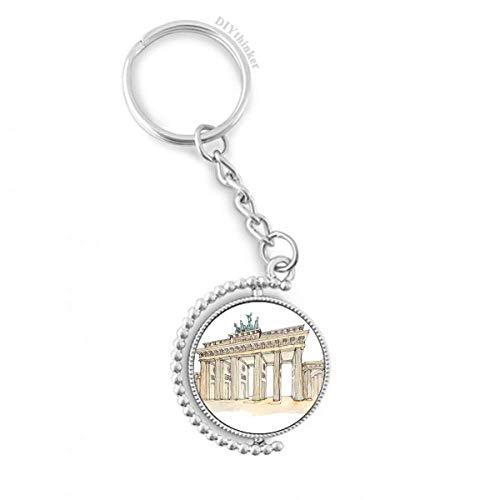 DIYthinker Brandenburg Tür in Ost-Deutschland Drehbare Schlüsselanhänger Ringe 1.2 Zoll x 3.5 Zoll Mehrfarbig
