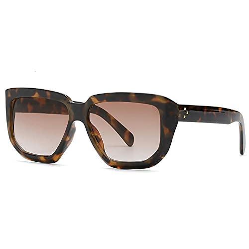 Gafas De Sol Hombre Mujeres Ciclismo Gafas De Sol para Mujer Gafas De Sol Gradiente Vintage Gafas Cuadradas Irregulares para Mujer-Leopard_Brown