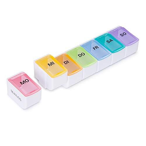 SUKUOS Pillendose Klein Tablettenbox 7 Fächer Pillenbox Medikamentendosierer Woche - Abnehmbar