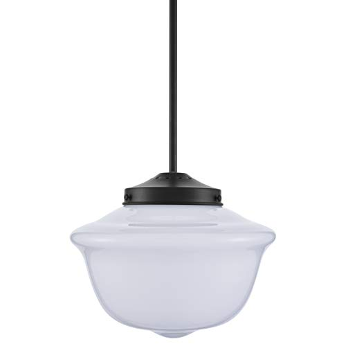 Lavagna Vintage Pendant Light Fixture | Black Milk Glass...