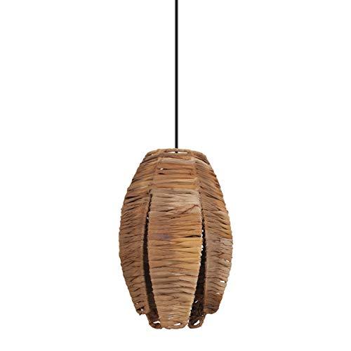 EGLO Pendelleuchte Mongu 1, 1 flammige Hängelampe Vintage, Afrikanisch, Boho, Hängeleuchte aus Bast und Stahl, Esstischlampe, Wohnzimmerlampe hängend in Natur, Schwarz, E27 Fassung