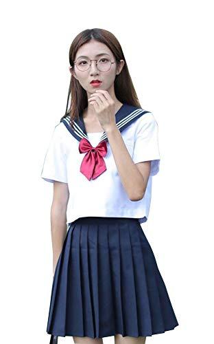Agaruu - Costume da marinaio a maniche corte da donna giapponese Marina Militare L
