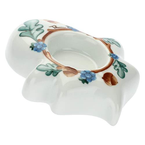 THUN ® - Porta Candela - a Forma di Foglia - Linea Preludio d'inverno - Porcellana - 10x12,96x3 cm h - Foro per Candela Ø 4,2 cm