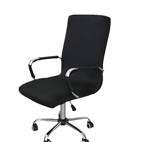 Funda para silla de oficina, repuesto universal para silla giratoria con reposabrazos, extraíble, ajustable, negro, Medium
