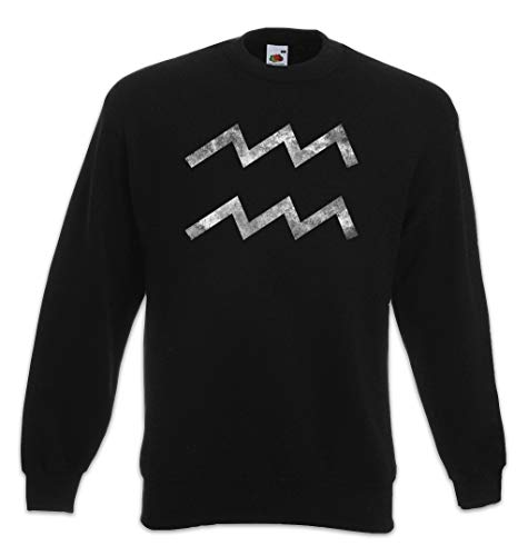 Urban Backwoods Zodiac Sign Aquarius Sweatshirt Pullover Schwarz Größe M