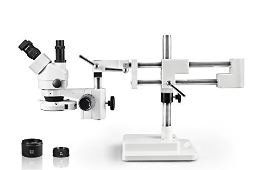 Vision Scientific VS-5FZ-IFR07 Simul-Focal Trinocular Zoom Stereo Microscope,10x WF Eyepiece,0.7X-4.5X Zoom,3.5X—90x Magnification,0.5X & 2X Auxiliary Lens, Double Arm Boom Stand, 144-LED Ring Light