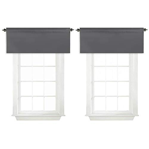 """Turquoize Room Darkening Curtain Smooth Valances for Kitchen Rod Pocket for Living Room/Bedroom 52"""" x 18"""" inches, Charcoal Gray, 2-Packs"""