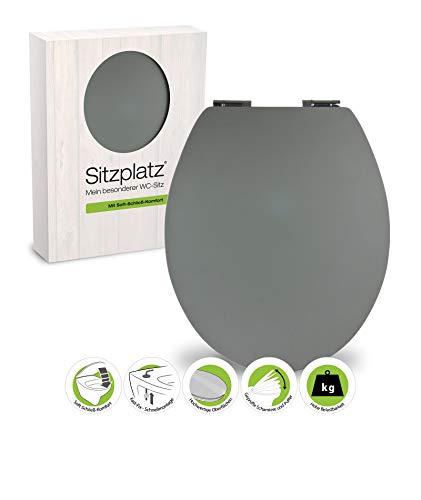 SITZPLATZ® WC-Sitz mit Absenkautomatik, Grau, Soft-Touch Toilettensitz mit Holzkern, Fast-Fix Befestigung, Standard O Form universal, Metallscharnier, Motiv WC Deckel, samtener Soft Touch, 40396 2