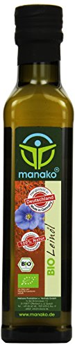 manako BIO Leinöl human, kaltgepresst, 100% rein, 250 ml Glasflasche (1 x 0,25 l)