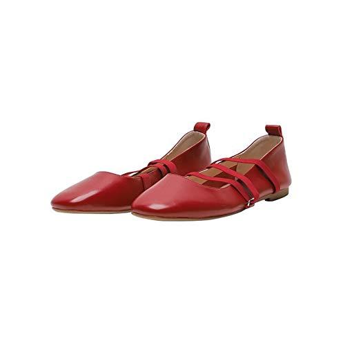 TIUTIU Lady Mary Jane schoenen - Flats - Yoga Dance schoenen - Elastische bandages - Ballerina's - zachte lederen schoenen - Square Toe schoenen