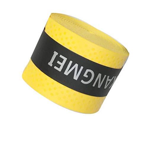 Nihlsfen Raqueta de Tenis elástica PU Overgrip Antideslizante Absorbe el Sudor Grifos de Envoltura Suave Amortiguador de Raquetas de Tenis Seco/vibración Puños pegajosos - Amarillo