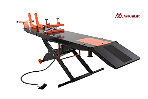 """APlusLift MT1500 1,500LB Air Operated 24"""" Width Motorcycle Lift Table (Free Service Jack, Free Home Delivery) / 24 Months Parts Warranty"""