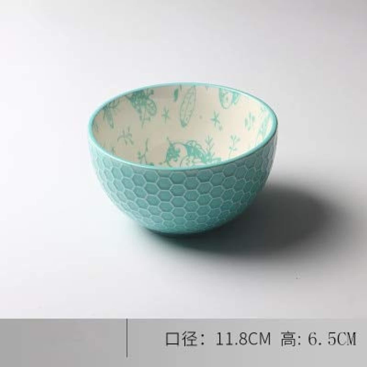 Creative Personality Embossed Printing Ceramic Tableware Bowl Western-Style 4.5-inch Hand-Painted Breakfast Bowl 9, 4.5 inch
