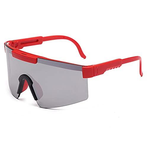 Gosunfly Gafas de sol deportivas personalidad penetrante elíptica cara-rojo