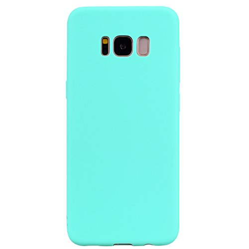 cuzz Funda para Samsung Galaxy S8+{Protector de Pantalla de Vidrio Templado} Carcasa Silicona Suave Gel Rasguño y Resistente Teléfono Móvil Cover-Azul Claro