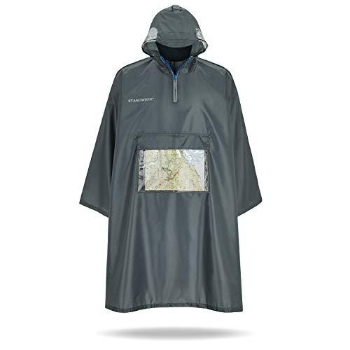 STANDWERK Regenponcho – Regenschutz für das Wandern mit transparenter Brusttasche, Kapuze, Sichtfenster - Regencape geeignet für Damen, Herren, mit Rucksack - Wasserdicht, Outdoor, Innovativ