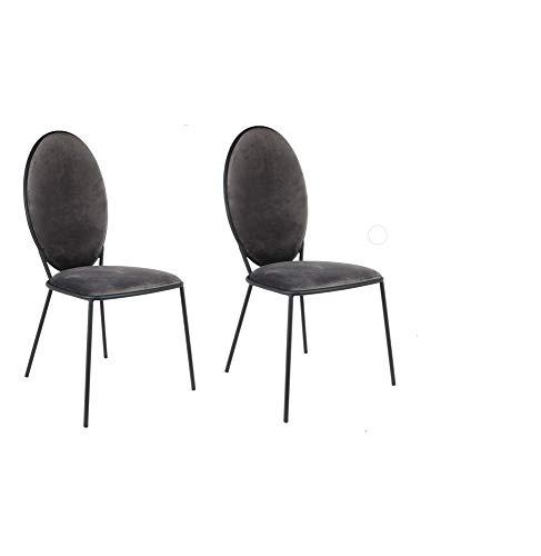 Maisonetstyles - Lote de 2 sillas medallón (51 x 52,5 x 96 cm), Color Gris Oscuro