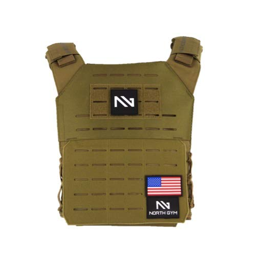 Northgym Adjustable Fitted 14lbs Weighted Vest for Men and Women/Perfect for Endurance & Strength Training and WODs in Tan (Brown) / 2 Moulded 5.75lbs Weight Plates Included