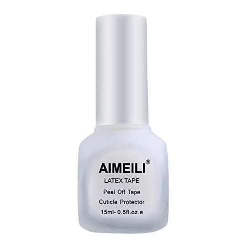 AIMEILI Liquid Latex Peel off Liquid Tape Nagellack Korrektor Hautschutz Fingerschutz für Nail Art Liquid Palisade Geruchlos Weiß 15ml