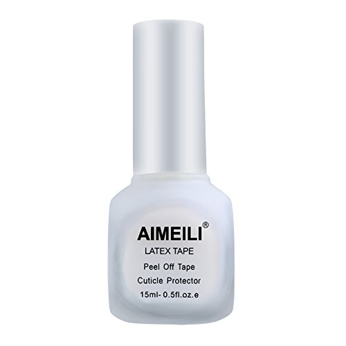 AIMEILI Liquid Latex Peel off Liquid Tape Hautschutz Fingerschutz für Nail Art Liquid Palisade Geruchlos Weiß 15ml