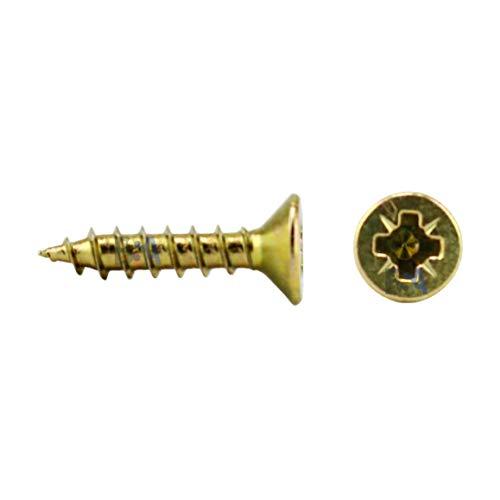 100 tornillos de 3 x 10 mm de todo rosca IROX acero galvanizado amarillo cabeza cruz Pozidriv PZD plana desalojada tornillo para madera y aglomerado 3 x 10 aglomerados