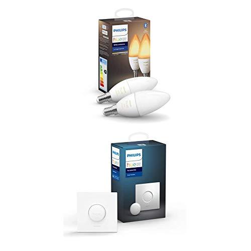 Philips Hue Bombilla Inteligente VelaLED E14, 5.2 W, con Bluetooth, Luz blanca de cálida a fría + Interruptor Smart Button, Compatible con Alexa y Google Home