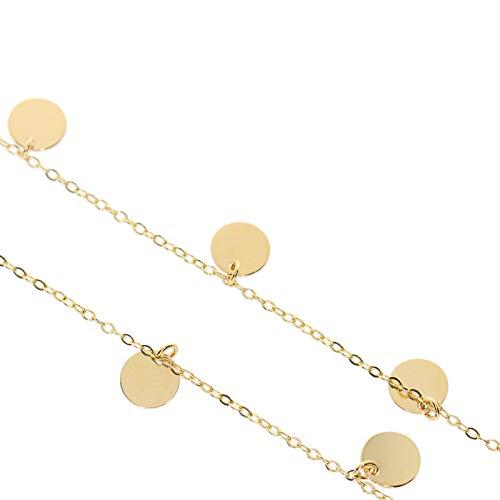 Stella-Jewellery Damen Halskette mit 7 Plättchen 585 Gold Kreis Kette Collier Schmuck