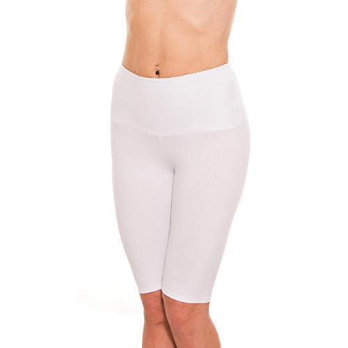 Alkato Damen Leggings 1/2 Radlerhose mit Hohem Bund, Farbe: Weiß, Größe: 36