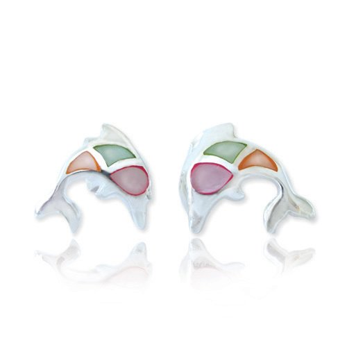 925 Sterling Silver Mother of Pearl Shell Dolphin Porpose Fish Post Stud Earrings