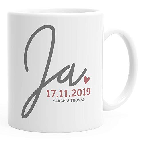 SpecialMe® personalisierte Kaffeetasse'Ja' mit Namen und Datum anpassbar Hochzeitsgeschenk kleines...