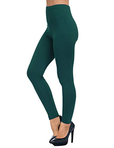AUSELILY Damen High Waist Soft Leggings Bequeme, schlanke Leggings Hose.(EU 32-38,Dunkelgrün)
