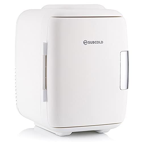Subcold – Classic4 Mini Refrigerador y Calentador – Mini Nevera 4 litros - 6 latas, Compacto, portátil y silencioso, Opciones de alimentación CA & USB (Blanco/Gris) (White)