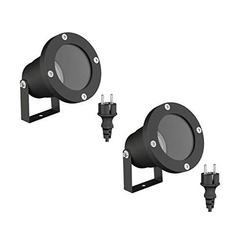 ledscom.de Strahler DUK, Outdoor, Aluminium, schwarz, GU10-Fassung, IP65, 2 Stk.