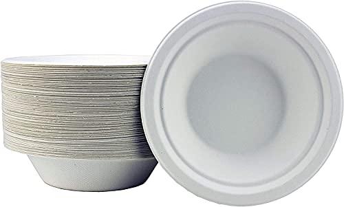 24x7 Cuencos de papel blanco de caña de azúcar, paquete de 50 cuencos desechables extra resistentes, ecológicos, biodegradables y compostables, ideales para servir platos no plásticos