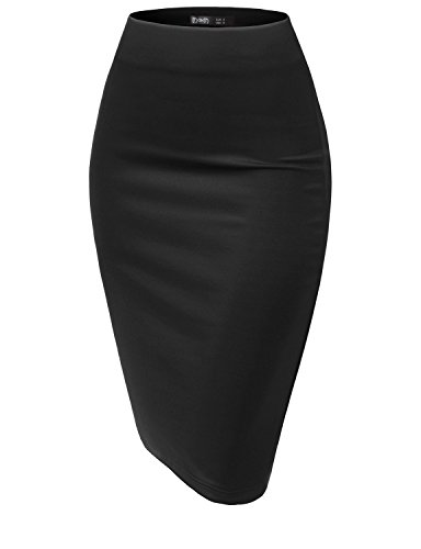 TWINTH Women Stretch Knit Midi Bodycon Pencil Skirt for Work Party Black M