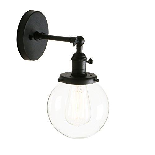 Pathson Antik Deko Design Kleine Kugel Klar Glas innen Wandbeleuchtung Wandleuchten Loft-Wandlampen Wandbeleuchtung (Schwarz Farbe)