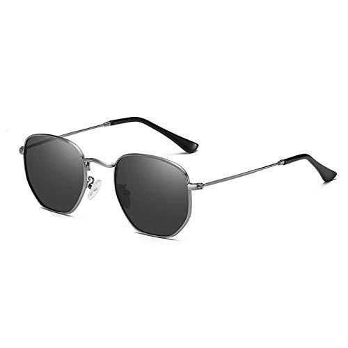 YQSL Sonnenbrille Klassische sechseckige polarisierte Sonnenbrille Herren Damen Retro Sonnenbrille Edelstahlrahmen - Sonnenbrille polarisiert