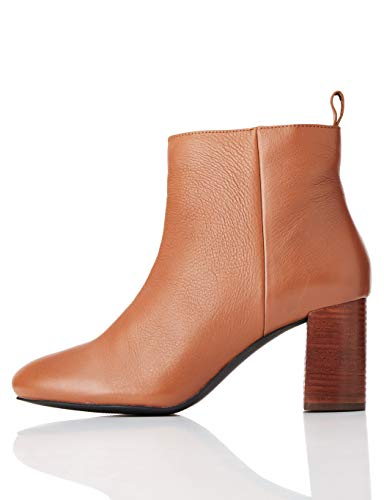 find. High Leather Ankle Botines, Marrón Brandy, 36 EU