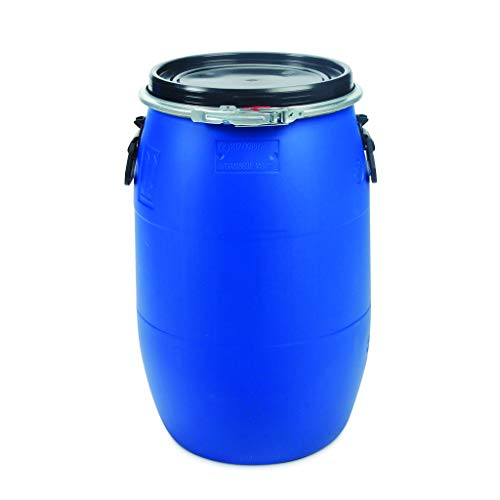 OIPPS 60 Liter Blauer Deckelfass, 100{5a6cb53edf3c0a3f2d15e5e77af8eef6b8c41a804d9fbcc521d6b307c23a58d4} Lebensmittelqualität Wasserdicht, UN-zertifiziert, Regentonne, Plastikfass Lagerfass, luftdicht stapelbar