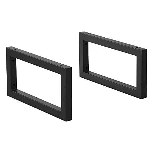 [en.casa] Conjunto de 2 x Patas para Muebles para Pared 40 x 20 cm Set de 2 x Patas de Mesa Acero Consola Mesa de Comedor Armazón de Muebles hasta 50 kg Negro Mate