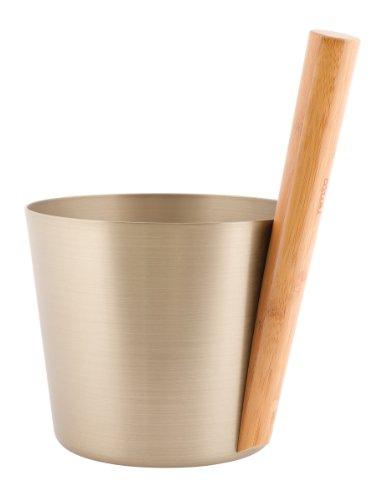 Design Saunakübel aus Aluminium - Champagner - 5 Liter mit Griff aus Bambus von Weigand Wellness