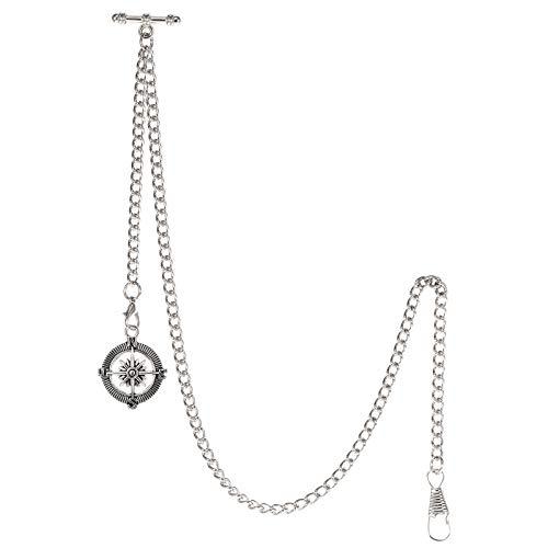TREEWETO Albert - Reloj de bolsillo con cadena para hombre, 2 ganchos, diseño de brújula antigua, color plateado